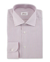 Brioni Textured Stripe Dress Shirt Red White