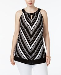 Inc International Concepts Plus Size Chevron Halter Top Only At Macy's Deep Black