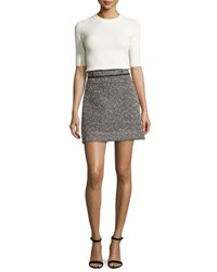 Carven Jersey And Tweed Mini Dress Multicolor