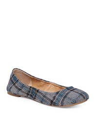 Lucky Brand Emmie Fabric Ballet Flats Grey Plaid