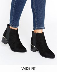 New Look Wide Fit Suedette Metal Detail Ankle Boot Black