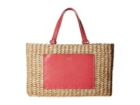 Frances Valentine Woven Pocket Medium Tote Natural Pink Tote Handbags