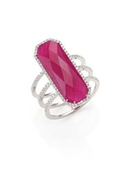 Meira T Ruby Pave Diamond 14K White Gold And Silver Ring Rose Gold Ruby