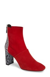 Topshop Women's Hunk Snake Textured Bootie Red Multi
