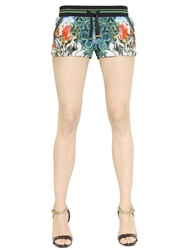 Roberto Cavalli Floral Printed Chenille Shorts Green