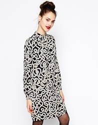 Love Moschino Long Sleeve Rope Print Shift Dress With Crew Neck Blackcream
