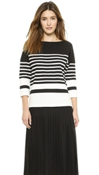Vince Nautical Striped Sweater Off White Black