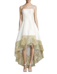 Betsy And Adam Lace Trimmed Hi Lo Gown Ivory Gold