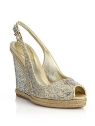 Rene Caovilla Strass Espadrille Wedge Slingback Sandals Gold