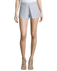 Bcbgmaxazria Striped Pleated Shorts Blue White