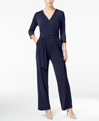 Ny Collection Petite Surplice Belted Wide Leg Jumpsuit Peacoat Navy