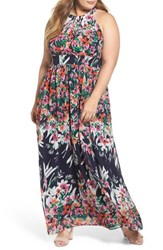 Eliza J Plus Size Women's Floral Halter Chiffon Maxi Dress Navy Pink