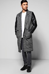 Boohoo Smart Tailored Jacket With Pu Sleeves Charcoal