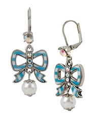 Betsey Johnson Striped Bow And Faux Pearl Drop Earrings Blue