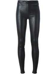Helmut Lang Skinny Leather Trousers Black