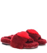 Anya Hindmarch Slider Heart Shearling Slides Purple
