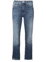 Mother Cropped Slim Fit Jeans Blue