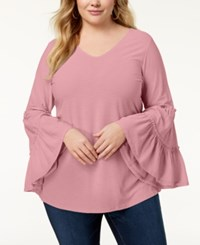 Ny Collection Plus Size Ruffled Sleeve Top Bridal Rose
