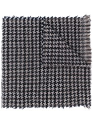 Fay Houndstooth Knit Scarf Blue