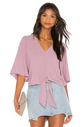 1.State Flounce Sleeve Tie Front V Neck Blouse Lavender