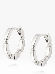 Daisy London Stacked Bead And Bar Huggie Hoop Earrings Silver