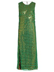 Marco De Vincenzo Embroidered Floral Lace Layered Dress Green