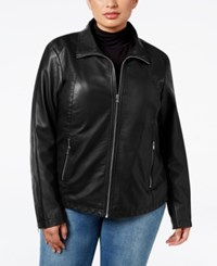 Kenneth Cole Plus Size Faux Leather Bomber Jacket Black