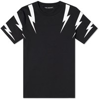 Neil Barrett Tiger Bolt Sleeve Print Tee Black