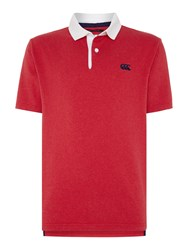 Canterbury Of New Zealand Short Sleeve Stripe Rugby Polo Shirt Red