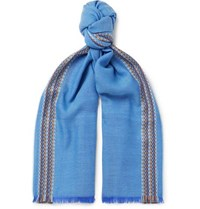Johnstons Of Elgin Merino Wool Cashmere And Silk Blend Jacquard Scarf Blue