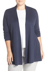 Plus Size Women's Eileen Fisher Lightweight Silk And Cotton Knit Straight Long Cardigan Midnight