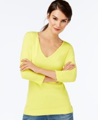 Inc International Concepts V Neck Three Quarter Sleeve Sweater Only At Macy's Sunray