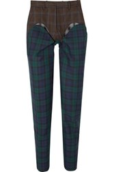 Y Project Paneled Plaid Wool Twill Straight Leg Pants Emerald