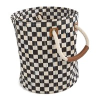 Mackenzie Childs Courtly Check Storage Tote Black And White
