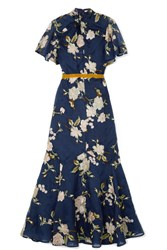 Erdem Celeste Ruffled Embroidered Silk Organza Gown Navy