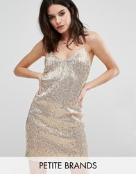 New Look Petite All Over Sequin Mini Dress Gold