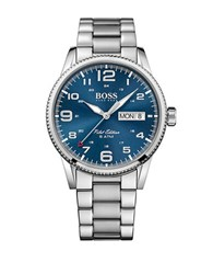 Hugo Boss Pilot Silvertone Stainless Steel Bracelet Watch 1513329