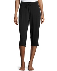 Skin Drawstring Waist Cropped Pants Black