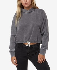 O'neill Juniors' Penny Graphic Cropped Hoodie Sweatshirt Charcoal Heather