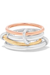 Spinelli Kilcollin Hyacinth Set Of Four 18 Karat Yellow And Rose Gold And Sterling Silver Rings