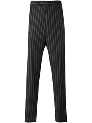 Lanvin Striped Tailored Trousers Men Polyester Viscose Wool 46 Black