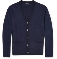 Polo Ralph Lauren Waffle Knit Linen And Cashmere Blend Cardigan Blue