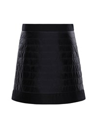 Moncler Quilted Skirt W Wool Trim Size 4 6 Black