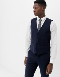 French Connection Plain Waistcoat Blue