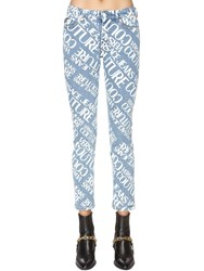 Versace All Over Printed Cotton Denim Jeans Blue