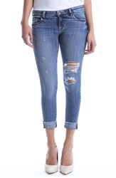 Kut From The Kloth Amy Ripped Straight Leg Roll Cuff Jeans Sprightly