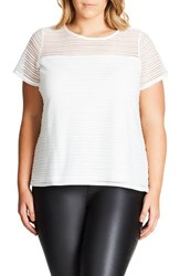 City Chic Plus Size Women's Shadow Heart Top Ivory