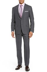 Hickey Freeman Big And Tall Classic Fit Solid Wool Suit Grey