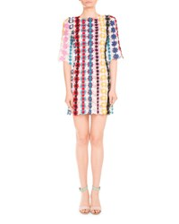 Mary Katrantzou Half Sleeve Guipure Lace Shift Dress Multi Multi Colored
