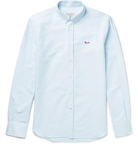 Maison Kitsune Slim Fit Cotton Oxford Shirt Green